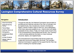 Lexington Historical Commission Cultural Resources Survey Website Lexington, MA